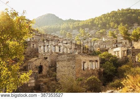 Historical Lycian Village Of Kayakoy, Fethiye, Mugla, Turkey. Ghost Town, Anciently Known As Lebesso