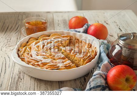 Heap Of Homemade Apple Pie Close-up And Copy Space. A Quick Autumn Dessert Idea With Tea. Autumn Pie
