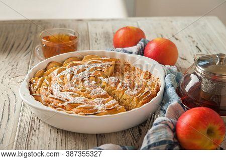 Heap Of Homemade Apple Pie Close-up And Copy Space. A Quick Autumn Dessert Idea With Tea. Autumn Pie