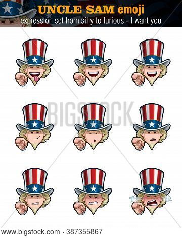 Vector Illustrations Set Cartoon Uncle Sam Emoji - I Want You. Nine Expressions, Silly, Laughing, Ha