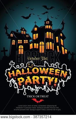 Halloween Party Poster With Haunted Castle. Illustrator Vector Eps 10