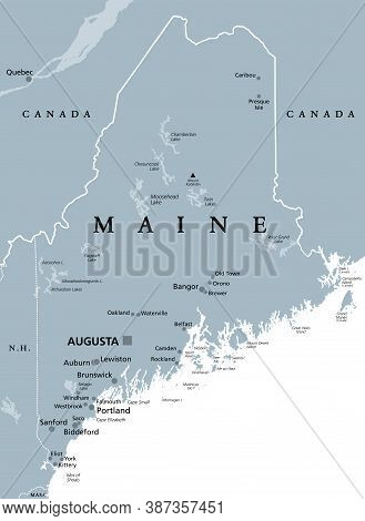 Maine, Me, Gray Political Map With Capital Augusta. Northernmost State In The United States Of Ameri