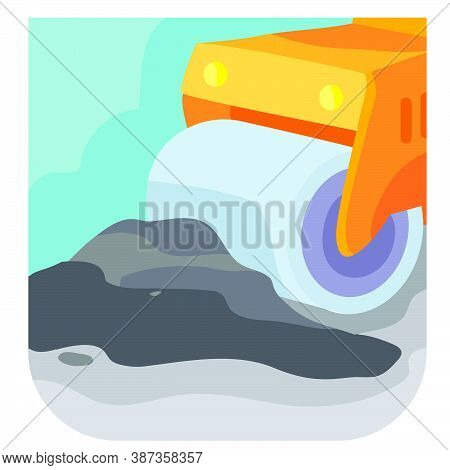 Cartoon Illustration, Asphalt Paver Machine Rolls Up A Pile Of Asphalt, Vector Illustration, Eps