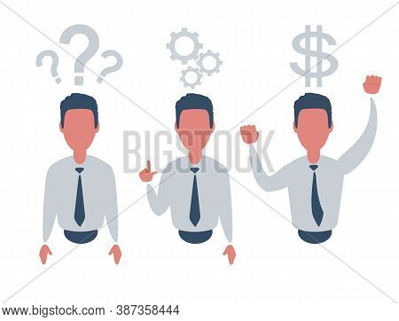 Thinking. Businessman Solving A Problem Business Concept . Stock Illustration For Poster, Greeting C