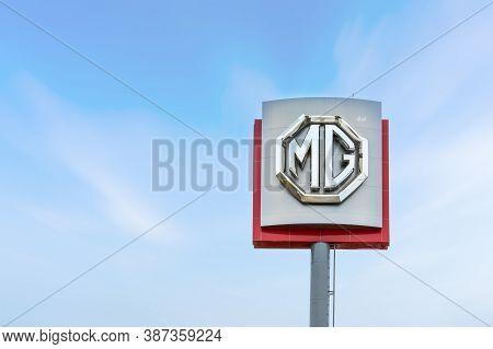 Nakhon Ratchasima, Thailand - Jan 30, 2018 : Mg Logo Sign On Sky Background. Mg Is An English Automo