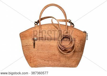 Cork Fashion. Fashionable Brown Female Luxury Women Handbag Or Shoulder Bag Made From Oak Cork Isola
