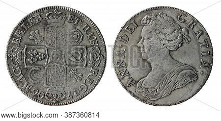 Copy Of The British Silver Crown Coin Of The Reign Of Anne, Queen Of Great Britain, Minted In 1706,