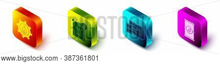 Set Isometric Oil Industrial Factory Building, Bio Fuel Canister, Oil Price Increase And Bio Fuel Ba