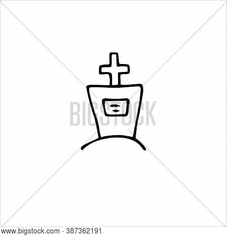 Vector Doodle Cross. Outline Grave Isolated On White Background. Headstone, Cross On The Tomb On The