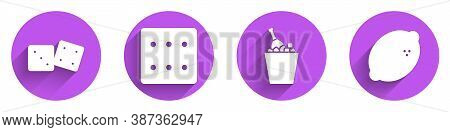 Set Game Dice, Game Dice, Champagne In An Ice Bucket And Casino Slot Machine With Lemon Icon With Lo