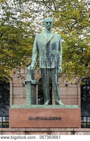 Helsinki, Finland - October 10, 2014: Kaarlo Juho Stahlberg Statue In Helsinki, Jurist, Academic And