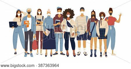 A Crowd Of Standing People In Medical Masks. Male And Female Characters In Modern Clothes, Flat Desi