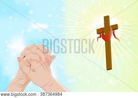 Good Friday And Easter Day Vector Illustration For Christian Religious Occasion With Religious Symbo
