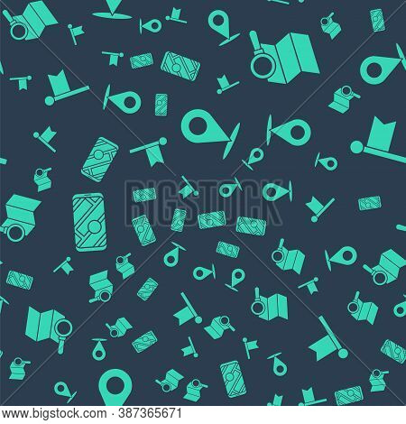 Set Location, Search Location, City Map Navigation And Location Marker On Seamless Pattern. Vector