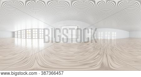 Empty Room With White Walls Art Gallery Wall With Empty Picture Frames3d Rendering Illustration 360