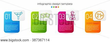 Set Line Martini Glass, Game Dice, Poker Player And 21 Plus. Business Infographic Template. Vector