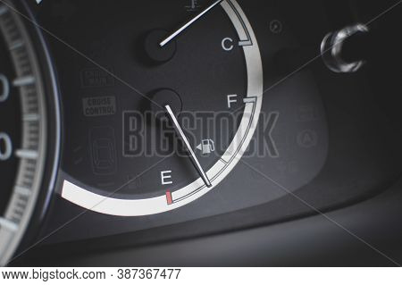 Fuel Gas Indicator Meter On Dashboard Inside To The Car