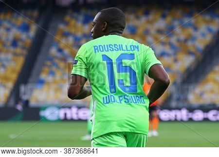 Kyiv, Ukraine - August 5, 2020: Jerome Roussillon Of Vfl Wolfsburg In Action During The Uefa Europa