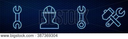 Set Line Wrench Spanner, Wrench Spanner, Worker Safety Helmet And Hammer And Wrench Spanner. Glowing