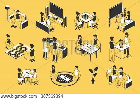 Home Leisure Free Time Isometric Hand Drawn Set             With Watching Cinema Online Playing Boar