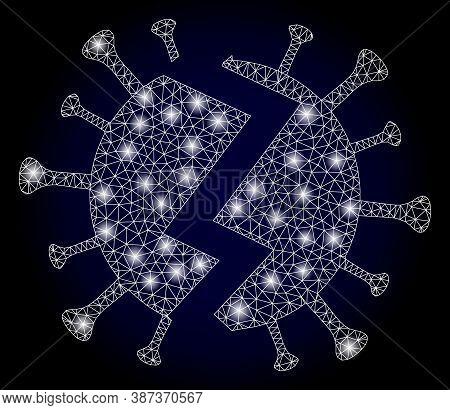 Glowing Mesh Polygonal Broken Virus With Glowing Spots. Illuminated Vector Model Created From Broken