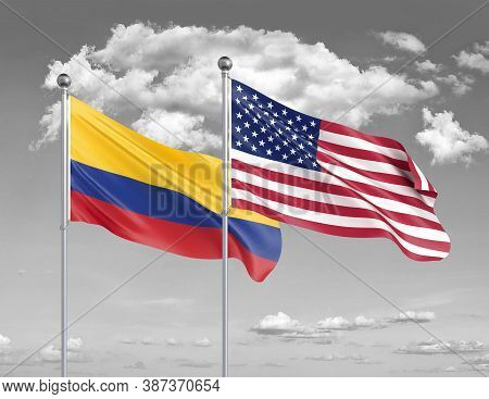 Two Realistic Flags. United States Of America Vs Colombia. Thick Colored Silky Flags Of America And