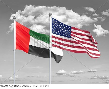 Two Realistic Flags. United States Of America Vs United Arab Emirates. Thick Colored Silky Flags Of