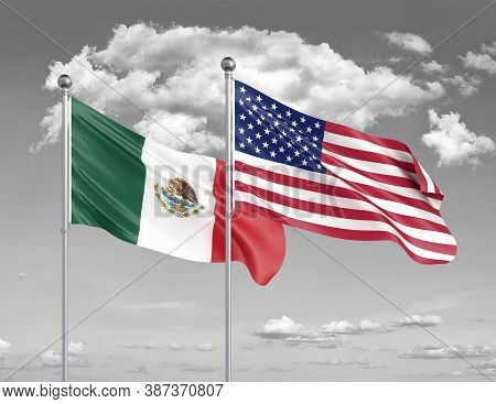 Two Realistic Flags. United States Of America Vs Mexico. Thick Colored Silky Flags Of America And Me