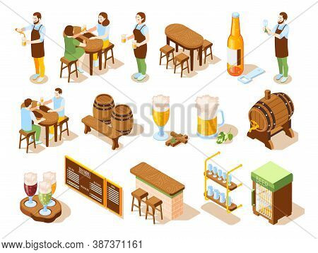 Beer Pub Isometric Icons Bar Counter Kegs Menu Board Bartender And Visitor Characters Isolated Vecto
