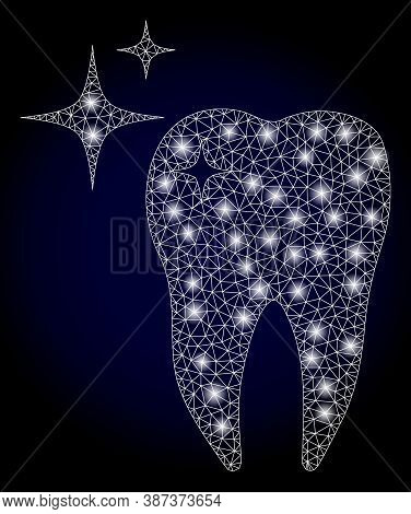 Glowing Mesh Polygonal Excellent Tooth With Light Spots. Illuminated Vector Constellation Created Fr
