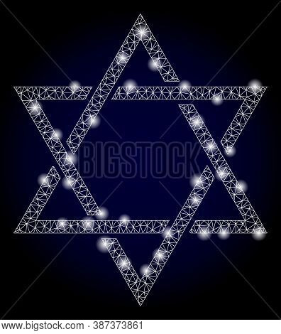 Glowing Mesh Polygonal David Star With Glowing Spots. Illuminated Vector Constellation Created From