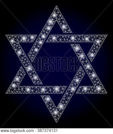 Bright Mesh Polygonal David Star With Light Spots. Illuminated Vector Model Created From David Star