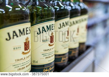 Tyumen, Russia-august 01, 2020: Jameson Whiskey Bottles Close Up On The Shelves Of A Hypermarket