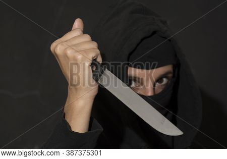 An Attacker With A Knife Violent Attacking With A Knife