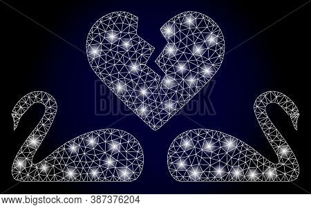 Bright Mesh Polygonal Divorce Swans With Glowing Spots. Illuminated Vector Constellation Created Fro
