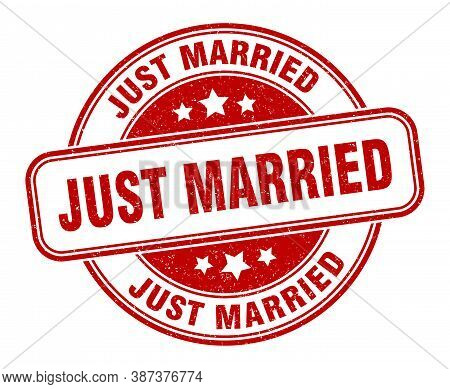 Just Married Stamp. Just Married Round Grunge Sign. Label