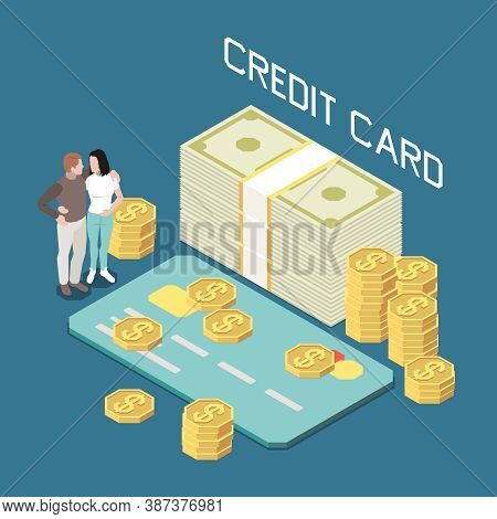 Money Borrow With Credit Card Isometric Composition With Couple Surrounded By Coins And Banknotes Pi