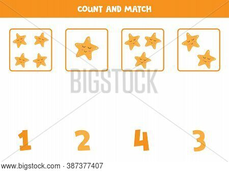 Counting Game With Cute Cartoon Starfish. Math Game.