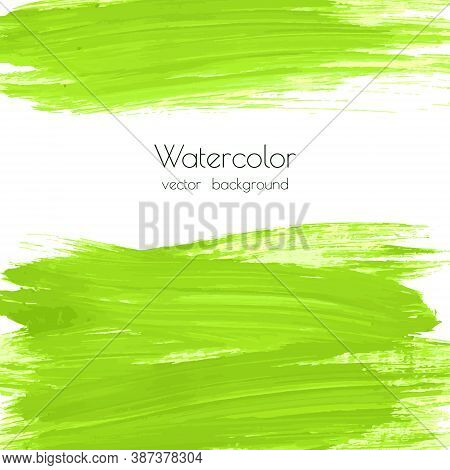 Vector Greenery Watercolor Texture Background With Dry Brush Stains, Strokes, Spots Isolated On Whit