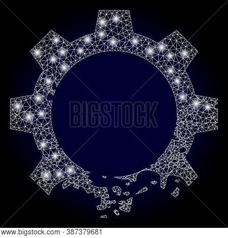 Glowing Mesh Polygonal Damaged Gear With Glowing Spots. Illuminated Vector Constellation Created Fro