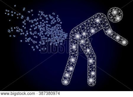 Shiny Mesh Polygonal Farting Person With Glowing Spots. Illuminated Vector Model Created From Fartin