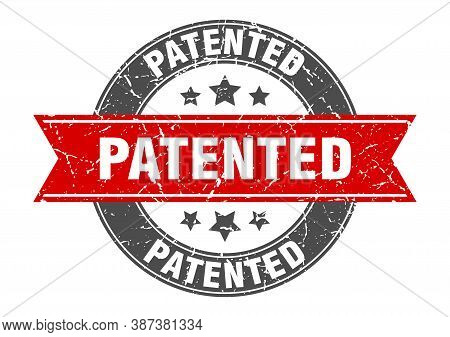 Patented Round Stamp With Red Ribbon. Patented