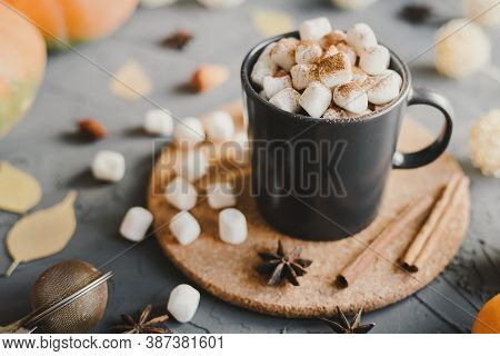 Fall Season Inspired Dessert: Hot Chocolate With Mini Marshmallows, Cinnamon, Star Anise And Cocoa P