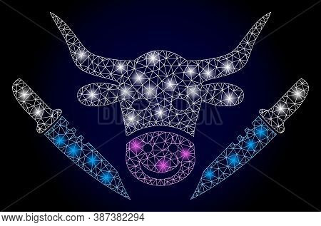 Bright Mesh Polygonal Cow Butchery With Lightspots. Illuminated Vector Constellation Created From Co