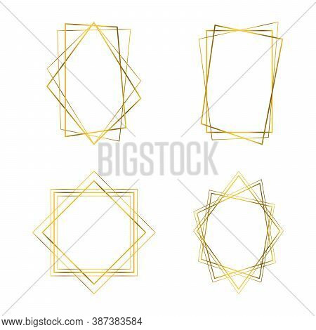 Geometrical Polyhedron. Gold Frames. Art Deco Style Design For Wedding Card, Invitations, Logo, Book