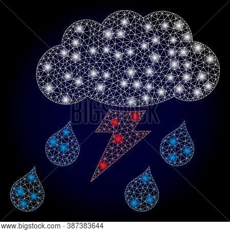 Glowing Mesh Net Thunderstorm With Glowing Spots. Illuminated Vector Constellation Created From Thun