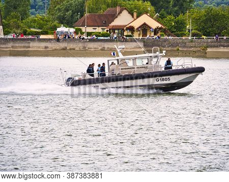 Yainville, France - July Circa, 2019. Rescue Team On Dinghy On The Seine River Afor Armada Exhibitio
