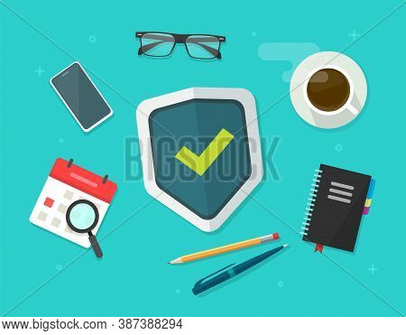 Security Protection Concept Shield On Working Desk Business Table Vector Flat Lay, Web Virus Digital