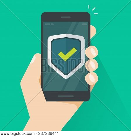 Security Protection Shield On Mobile Phone Guard Online In Hand Vector Icon Flat Cartoon, Internet W