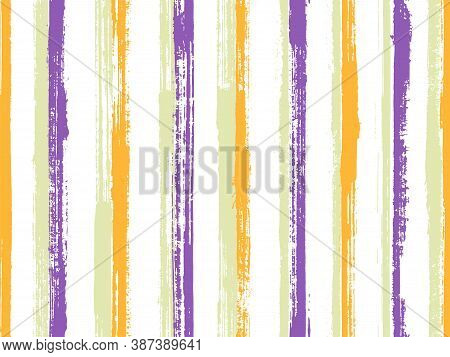 Watercolor Hand Drawn Parallel Lines Vector Seamless Pattern. Handmade Bedding Textile Print Design.